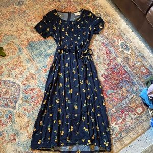 bentley floral navy pleated dress